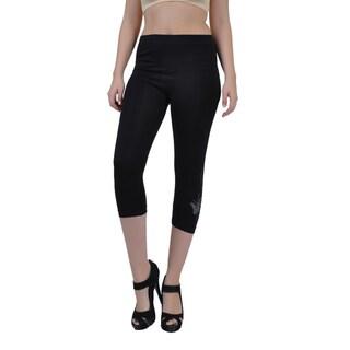 Soho Junior Plus Size Black/ Royal Blue Capri Length Leggings Pants
