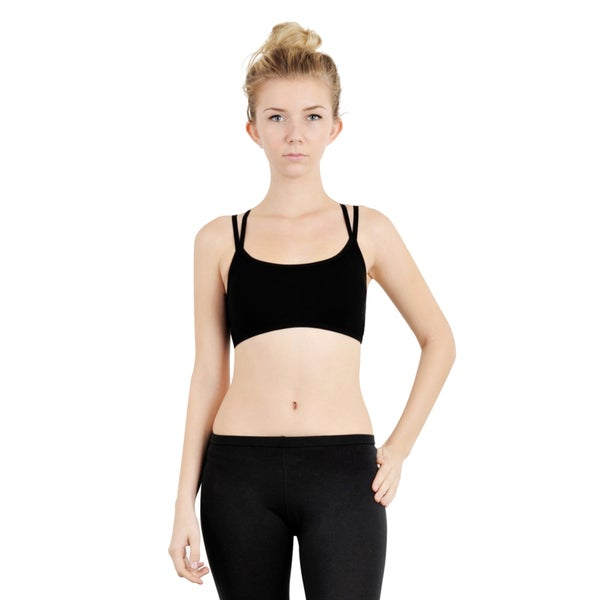 Zodaca Womens Black Seamless Padded Cross Strap Racerback Sports Bra Tank Top for Gym/ Yoga