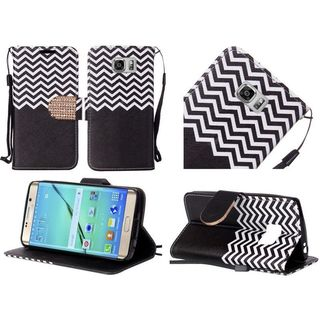 Insten Black/White Chevron Leather Case Cover Lanyard with Stand/Diamond For Samsung Galaxy S7 Edge
