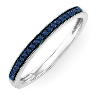 Sterling Silver 1/10ct Round Blue Sapphire Wedding Anniversary Stackable Band Ring (I1-I2)