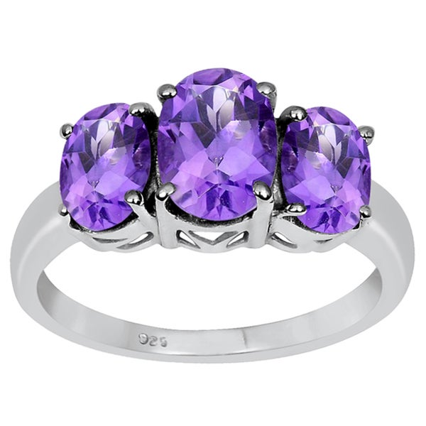 Orchid Jewelry 925 Silver 2 1/2ct. Genuine Amethyst 3-stone Engagement Rings