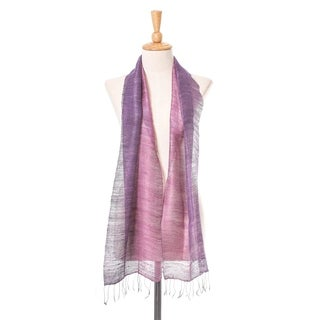 Handcrafted Silk 'Bold Orchid' Scarf (Thailand)