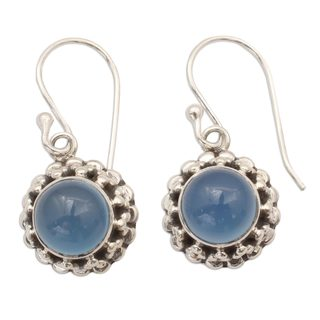Sterling Silver 'Eternally Blue' Chalcedony Earrings (India)