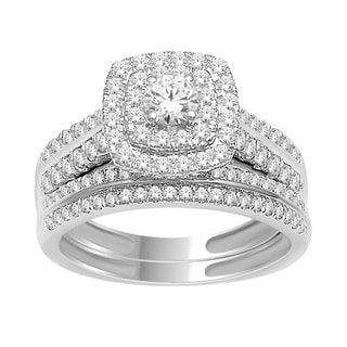 De Couer 18k White Gold 1ct TDW Diamond Halo Engagement Ring Set (H-I, I2)