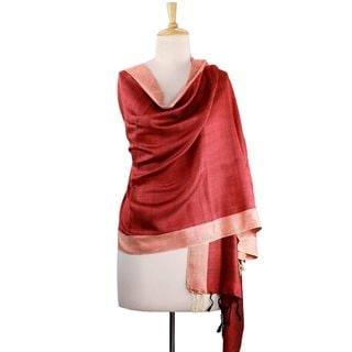 Handcrafted Silk 'Bhagalpur Sunshine' Shawl (India)