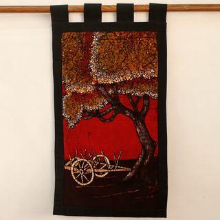 Handcrafted Cotton Batik 'Autumn Village Scene' Wall Hanging (India)