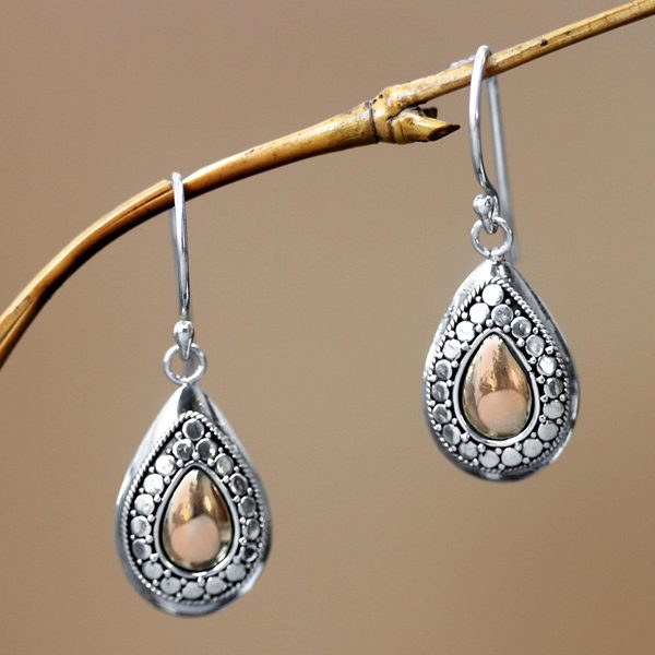 Sterling Silver Gold Overlay 'April Sun' Earrings (Indonesia)