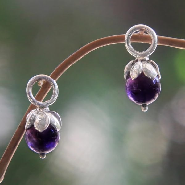 Sterling Silver 'Budding Spirit' Amethyst Earring Charms (Indonesia)