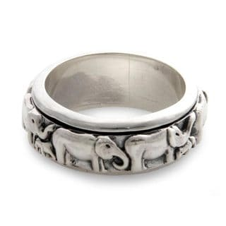 Handcrafted Sterling Silver 'Lucky Elephants' Ring (Indonesia)