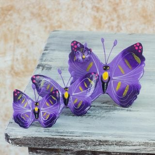 Set of 3 Ceramic 'Coban Butterflies' Sculptures (Guatemala)