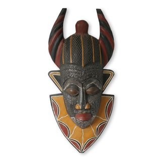 Handcrafted Sese Wood 'Tribal Power' Mask (Ghana)