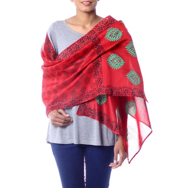 Handcrafted Cotton Silk 'Blossoming Flowers' Shawl (India) 19102484