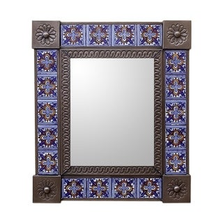 Handcrafted Tin Ceramic 'Royal Blue Bloom' Mirror (Mexico)