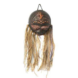 Handcrafted Calabash Raffia 'Sandema Woman' Mask (Ghana)