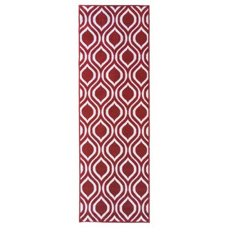 Berrnour Home Moroccan Red/Grey/Green/Orange/Brown Polypropylene Trellis Design Non-skid Runner Rug (1'8 x 4'11)