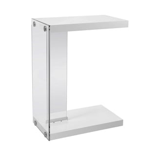 Monarch Glossy White MDF/Tempered Glass Accent Table