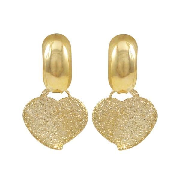 Luxiro Gold Filled Sandblasted Heart Children's Huggie Earrings
