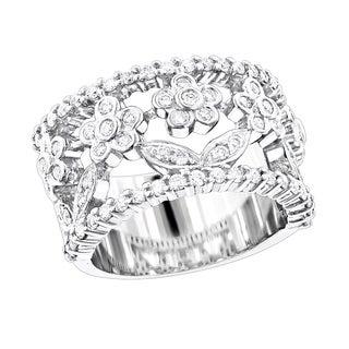 Luxurman Platinum 7/8ct TDW Round Diamond Ring (F-G, VS1-VS2)