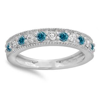 14k Gold 1/2ct TDW Round Blue and White Diamond Milgrain Anniversary Wedding Stackable Band (H-I, I1-I2)