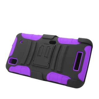 Insten Car Armor Hard PC/ Silicone Dual Layer Hybrid Case Cover with Stand/ Holster For ZTE Max