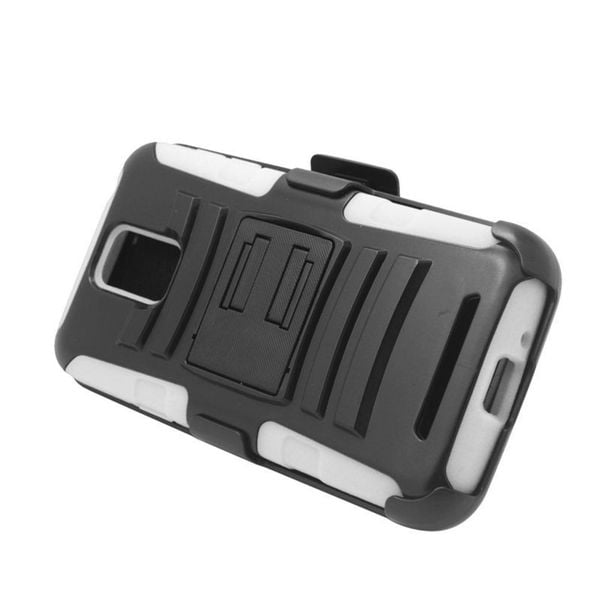 Insten Black/ White Hard PC/ Silicone Dual Layer Hybrid Case Cover with Stand/ Holster For Samsung ATIV SE W750V Huron