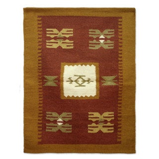 Handcrafted Wool 'Sunset Earth' Rug 2x3 (India)