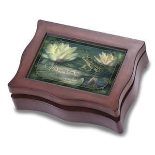 Versil Lily Frog with Sentiment Sounds of Nature Brown Wood Music Box