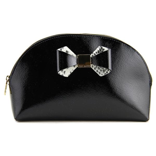 Ted Baker Women's Jenel Leather Metallic Bow Dome XLRG Cosmetic Bag