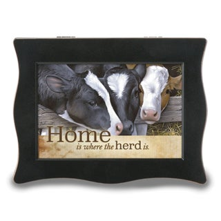 Versil 'Home is Where the Herd is' Black Resin Cows Music Box