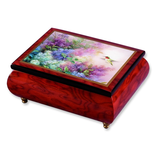 Versil Len Liu Hummingbird with Lilacs Brown Wood Music Box