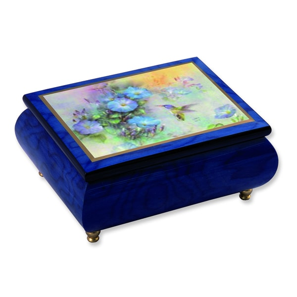 Versil Len Liu Violet Crowned Hummingbird Blue Wood Music Box