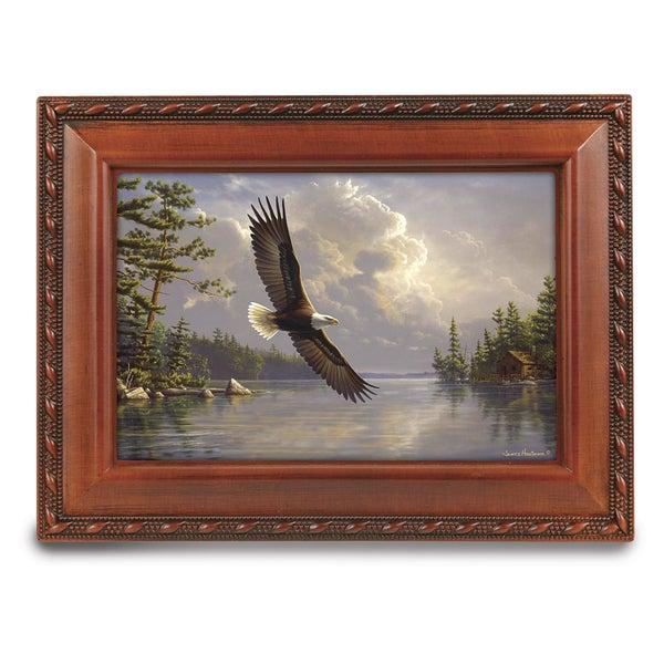 Versil Belle Papier American Eagle Brown Wood Music Box
