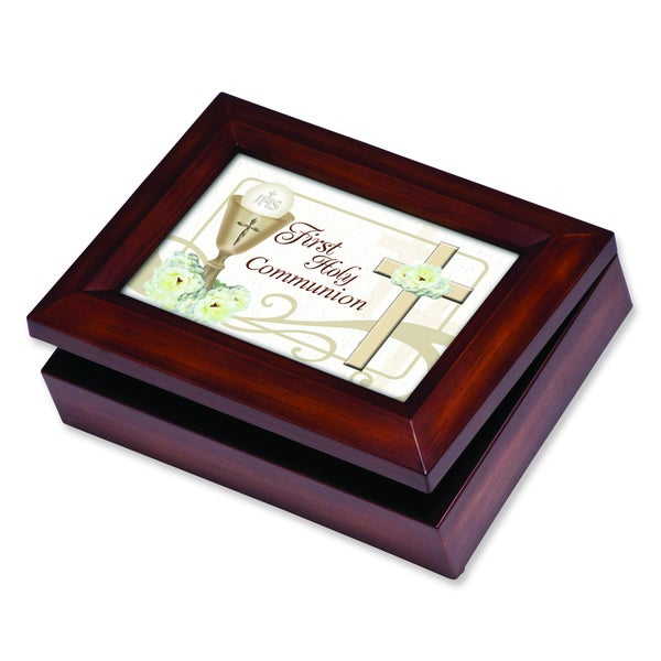 Versil Woodgrain Resin Holy Communion Music Box