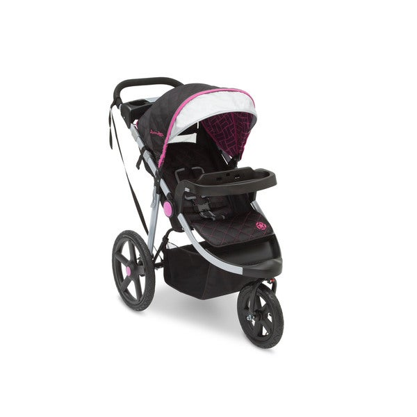 Delta J is for Jeep Brand Adventure Berry Tracks Black/Pink/Silver Plastic All-terrain Jogging Stroller