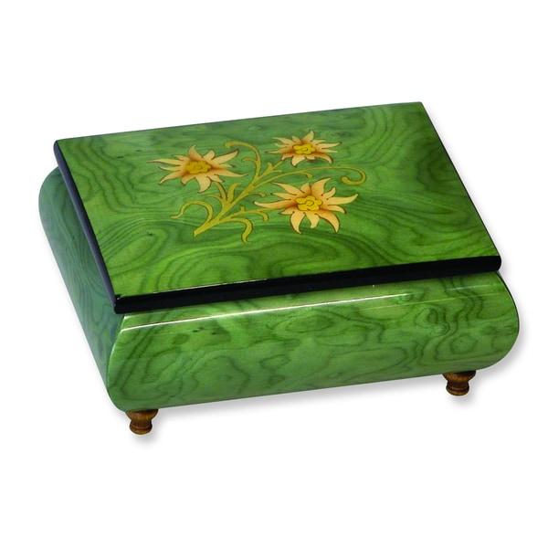 Versil Green Wood Floral Inlay Music Box