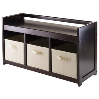 Winsome Addison Espresso Wood 4-piece Storage Bench with 3 Beige Fabric Foldable Baskets