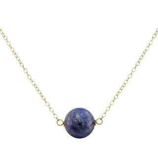 DaVonna 18k Gold over Silver Cable Chain Necklace with 10mm Simulated Blue Lapis Round Gemstone as Pendant Necklace