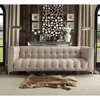 Iconic Home Capone Beige Linen, Chrome Tufted Y-leg Sofa