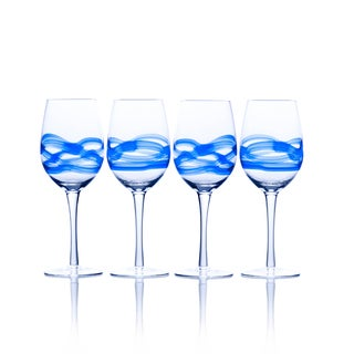 Mikasa Admiral Cobalt Blue, Clear Glass Wine Glasses (Set of 4)