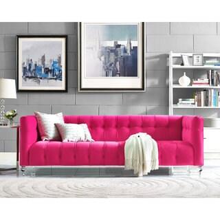 Bea Pink Velvet/Fabric/Wood Sofa