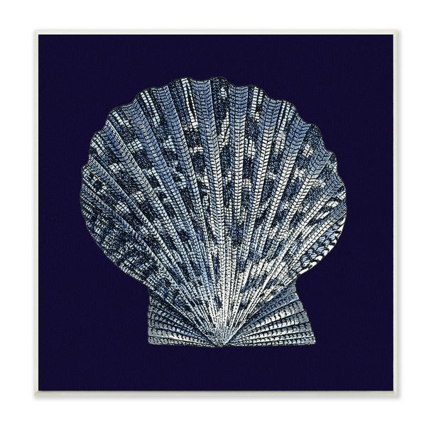 Stupell Distressed Navy/White Scallop Shell Wall Plaque Art