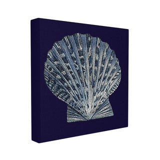 Stupell Scallop Shell Distressed Navy/White Stretched Canvas Wall Art
