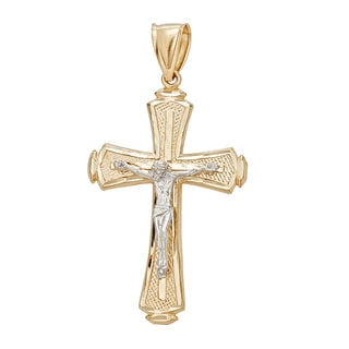 Decadence 14k Two-tone Gold DC Textured Religious Crucifix Cross Pendant
