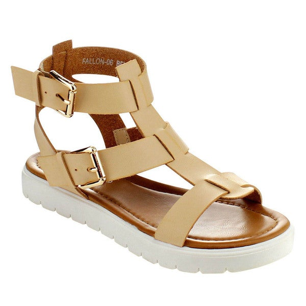 Via Pinky FALLON-06 Women's Open Toe Strap Flat Gladiator Sandals Size 6 in Beige ( As Is Item)