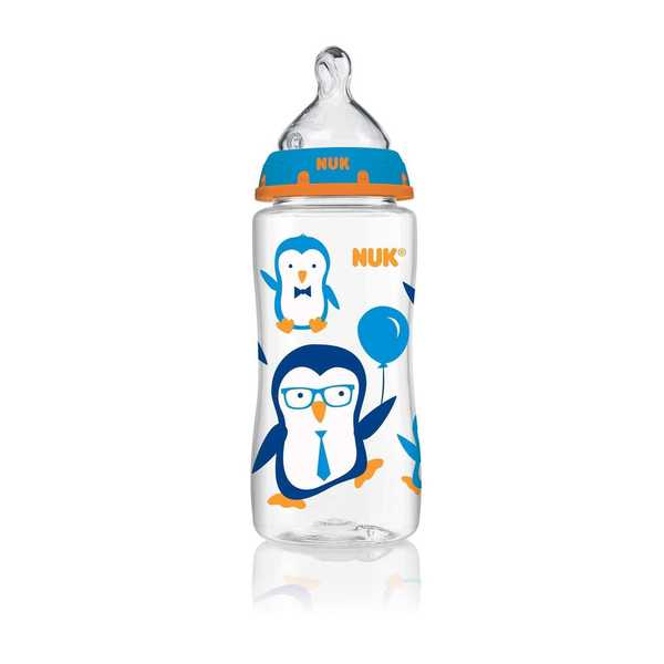 NUK Blue Penguin 10-ounce Orthodontic Bottle