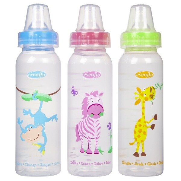 Evenflo Blue/Pink/Green 8-ounce Zoo Friends Bottle With Standard Nipple (Pack of 3)