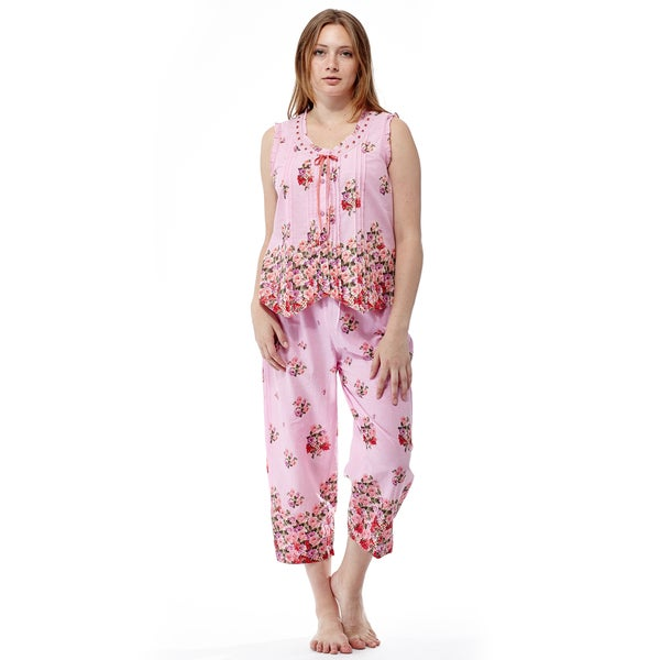 La Cera Women's Pink Cotton Sleeveless Top Floral Printed Pleated Pajama Set