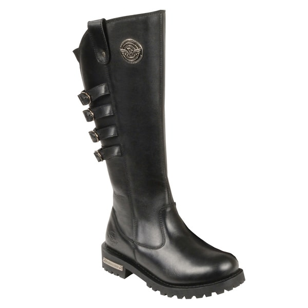 Women's Black Leather Waterproof Motorcycle Boots 19106480
