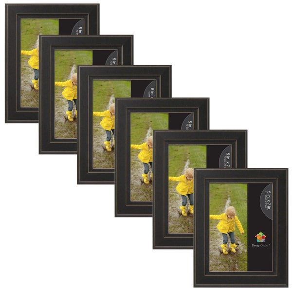 Casual Distressed Black Wood Picture Frame Set Of 6