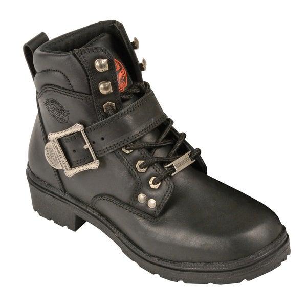 Women's Black Leather Side Buckle Plain Toe Boots